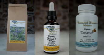 organically grown and wild crafted botanicals herbs, tinctures and capsules